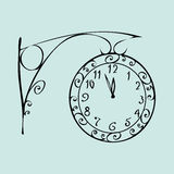 Street clock with a dial of midnight New year Stock Photos