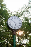 Street clock in the park. Vintage street clock in the park Royalty Free Stock Image