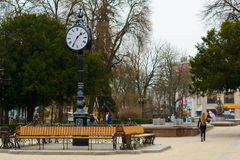 Street clock on three sides. Ternopil. Ukraine. First time this clock installed in 1896. After the German-Soviet war clock destroyed. Renewed 28.09.2014. By royalty free stock image