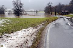 Flooding. Street closed because of flooding due to snow melt royalty free stock photo