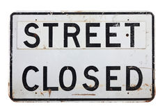 A street closed sign on a white background. A white street closed sign on a white background Royalty Free Stock Image
