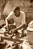 Street cobbler. Old Delhi, India. Royalty Free Stock Photography