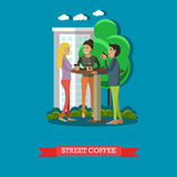 Street coffee concept vector illustration in flat style. People standing around the table, talking to each other and drinking coffee Royalty Free Stock Photo