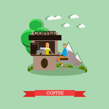 Street coffee concept vector illustration in flat style. Stock Photography