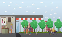 Street coffee concept vector illustration in flat style. Street coffee and coffee to go concept vector illustration in flat style. People standing around the vector illustration