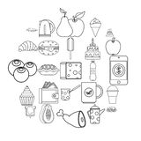 Street coffee house icons set, outline style. Street coffee house icons set. Outline set of 25 street coffee house vector icons for web isolated on white vector illustration
