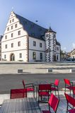 Street coffee overlooking historic armory in the city of Schweinfurt stock image