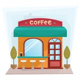 Street coffee shop building exterior - flat style vector illustration Royalty Free Stock Image