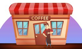 Street coffee shop concept banner, cartoon style. Street coffee shop concept banner. Cartoon illustration of street coffee shop vector concept banner for web royalty free illustration