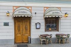 Street coffee shop in old European city Stock Photo