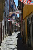 Street of Coimbra. Portugal. Portuguese handcraft traditional festival decoration royalty free stock photos
