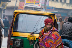 On the street cold foggy morning in winter at Varanasi Royalty Free Stock Image