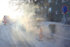 Street on cold frosty morning Stock Image