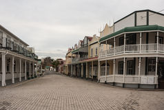 Street with colonial houses in Tauranga Stock Photo