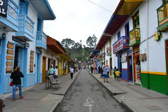 Street of the colonial town of Salento, Colombia. Tourists in the colonial town of Salento, in the Eje Cafetero, Colombia. The zone of Eje Cafetero was very rich royalty free stock photos