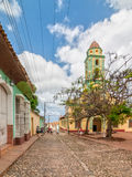 Street with colored buildings and Church and Monastery of Saint Royalty Free Stock Image