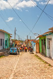 Street with colored buildings at Trinidad, Cuba Stock Photography