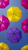 Street with colored umbrellas.Agueda. Stock Image