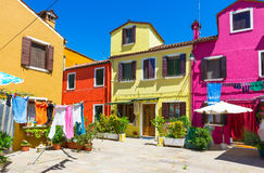 Street with colorful buildings in Burano island Royalty Free Stock Image