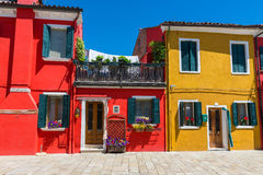 Street with colorful buildings in Burano island, Venice Stock Photography