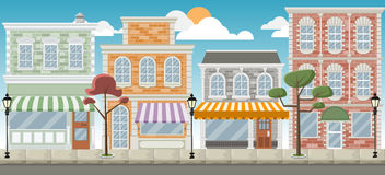 Street of a colorful city vector illustration