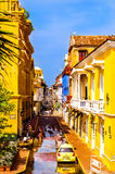 Street of colorful colonial buildings in Cartagena Stock Image