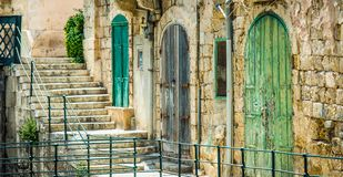 Street with colorful gates in Vallatta. Historical center in Malta Royalty Free Stock Photography