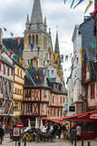 Street with colorful houses in a medieval city of Vannes, France Stock Image