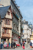 Street with colorful houses in a medieval city of Vannes, France Stock Photos