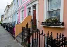 Street of Colorful Houses off of Portobello Road Stock Photography