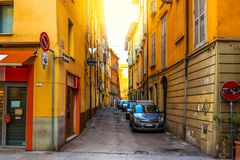 Street with colorful houses in Reggio Emilia Stock Image