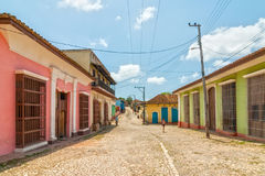 Street with coloured buildings in Trinidad, Cuba Royalty Free Stock Image