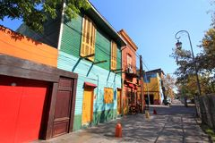 Street with Coloured houses of La Boca stock photography