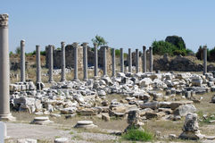 Street of columns. In Side, Turkey Stock Photography