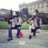 Street concert. A duet with accordion horses Stock Photos