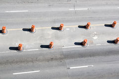 Street construction. With orange cones Stock Images