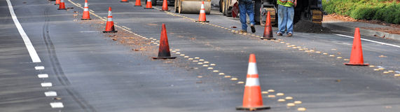 Street construction with cones Stock Images