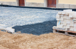 Street construction site - paving Royalty Free Stock Image