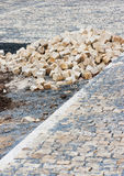 Street construction site - paving Royalty Free Stock Photos