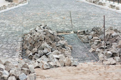 Street construction site - paving Stock Photo