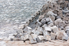 Street construction site - paving stock images