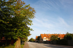 Street of copenhagen suburb. The street of the copenhagen suburb morning Royalty Free Stock Photo