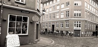 Crossing the Old Town street in Copenhagen royalty free illustration