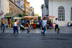Street corn vendors in Istanbul, Turkey Stock Photo