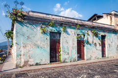 Street Corner in Antigua, Guatemala. A street corner with one of the old colonial houses in Antigua, Guatemala with plants growing from the cracks in the wall royalty free stock photos