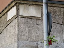 Street corner with granite empty sign-plates and a single plant in a flowerpot hanging on a pipe. Creative simple minimalist background with copy space stock photo