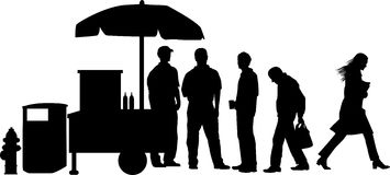 Street_corner_group_01. Silhouette graphic depicting an urban sidewalk scene Stock Photography