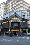 Street corner in Kawagoe City. An old Edo-styled shophouse located on the street corner in Kawagoe City's (Saitama Prefecture, Japan) Kurazukuri Zone ( Royalty Free Stock Image