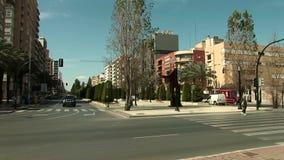 Street corner on the `La Alameda` in Cartagena, Spain stock video