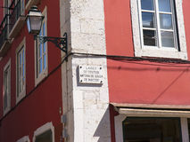 Street Corner in Lisbon Portugal Royalty Free Stock Images